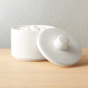 CB2 Chantilly White Sugar Bowl With Lid